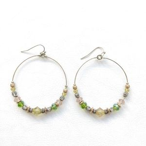 Jewelry - Gold and Green Hoop Earrings